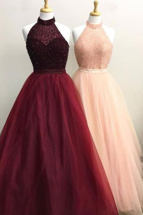 Elegant High Neck Burgundy/Pink Long Prom Dresses with Beaded P1533