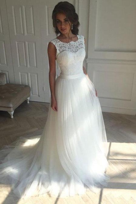 White Wedding Dress with Sash Appliques P1549