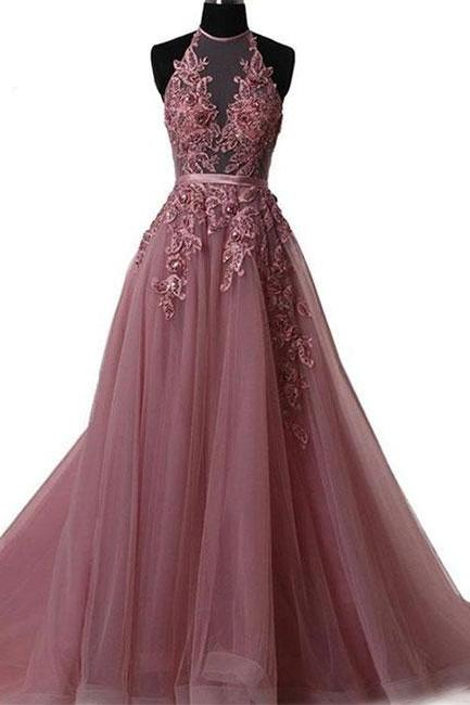 A line lace tulle backless long prom dress, evening dress P1582