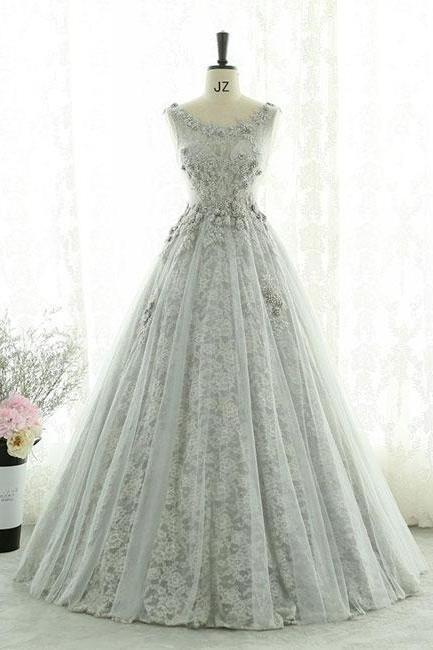 Gray lace tulle long prom dress, gray evening dress P1603