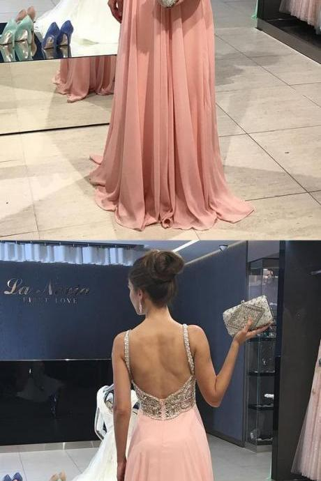 Gorgeous Beads ,Pink ,Chiffon ,Long Prom Dress Prom Dresses,Long Evening Dress,Formal Dress,Beading evening Dresses P1618