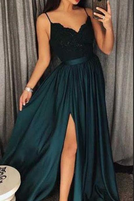 Sexy Dark Green V-Neck Lace Bodice Prom/Evening Dres Slit Side P1630
