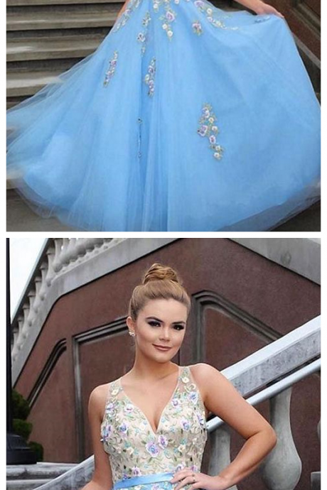 Light Blue Prom Dresses,Tulle Prom Gown,Applique Prom Dress,Formal Evening Dress,Formal Women Dress P1651
