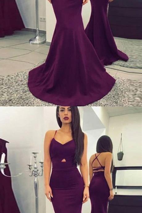 Mermaid V-Neck Criss-Cross Straps Sweep Train Purple Prom Dress P1693