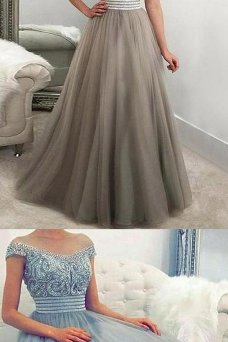 A-Line Off-the-Shoulder Floor-Length Light Grey Tulle Prom Dress with Beading P1709