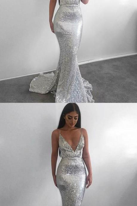 Mermaid Spaghetti Straps Backless Sweep Train Silver Sequined Prom Dress P1764