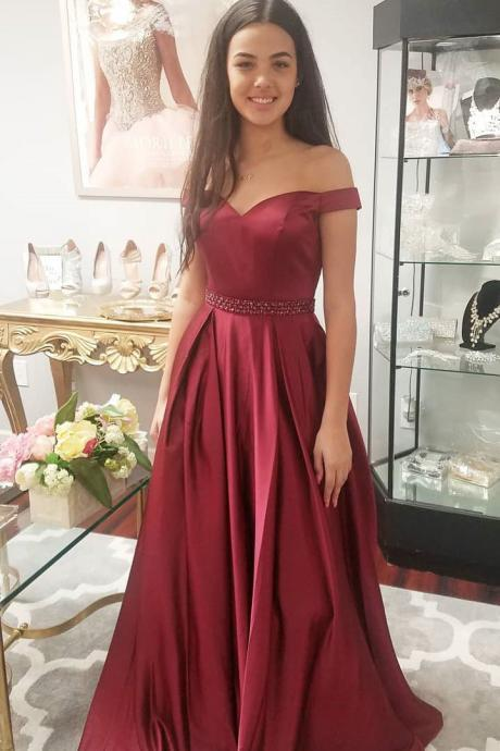 Elegant Off the Shoulder Burgundy Long Prom Dress,Waist Beaded Party Dress P1804