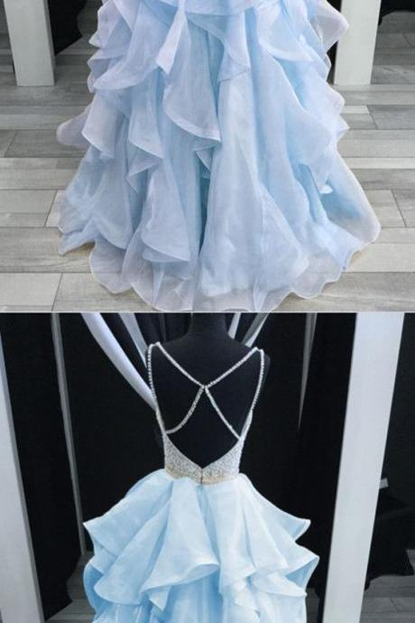 Baby Blue Prom Dresses Ballgowns Organza Ruffles V-neck with beaded and cross back P1896