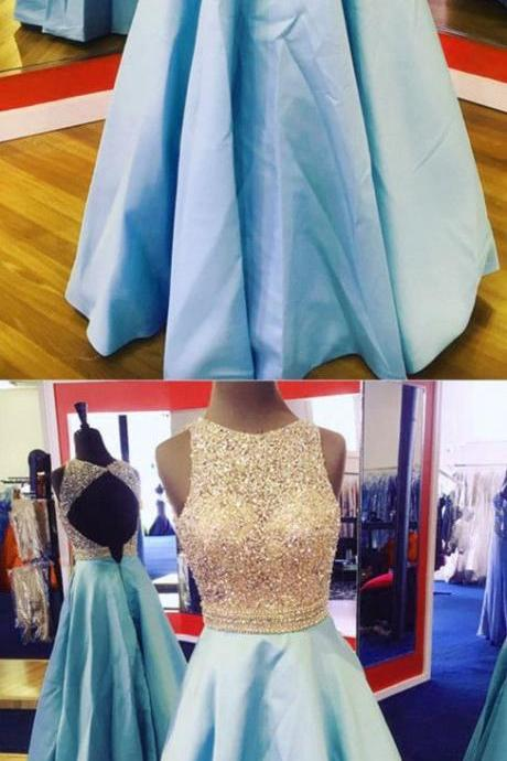 Baby Blue Prom Dresses Sequins Beaded Long Evening Gowns With Keyhole Back P1912