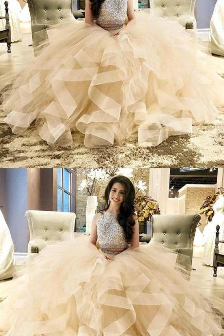 Exquisite Sequin Beaded Two Piece Prom Dresses Champagne Ball gowns Quinceanera dress organza ruffles P1924