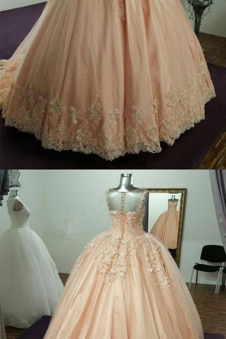 Modest Illusion Neckline Tulle And Satin Ball Gowns Wedding Dresses Lace Embroidery P1938