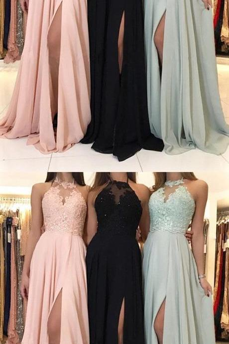 Charming Lace Halter Long Chiffon Split Evening Gowns 2018 Formal Prom Dresses P1942
