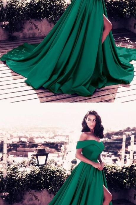 Dark Green Satin Long Formal Evening Dresses V-neck Off-the-shoulder Prom Dresses P1953