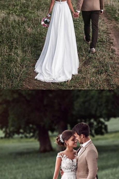 Boho Style Lace Appliques Cap Sleeves Chiffon Beach Wedding Dresses 2018 for bride P1983