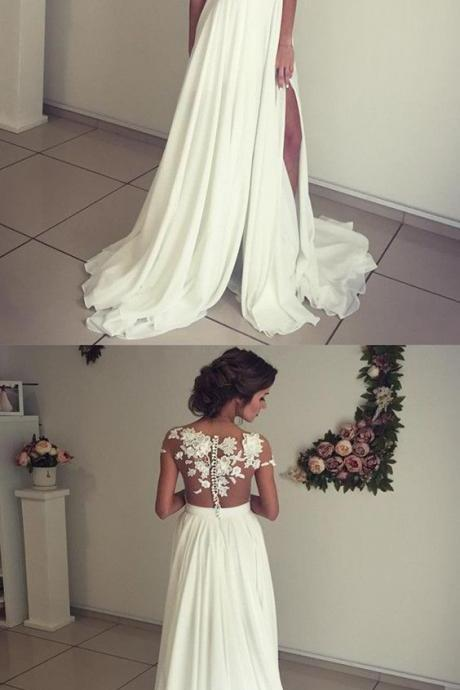 Illusion Neckline Empire Waistline Chiffon Wedding Gowns For Bride 2018 P2028