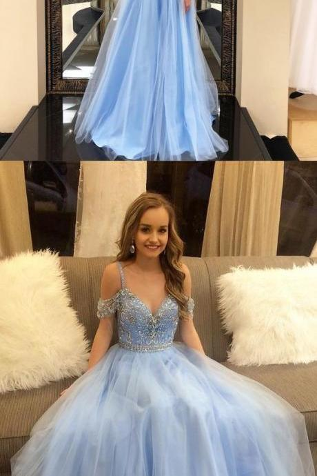 Blue Tulle Off Shoulder A-Line Beautiful Prom Dresses, Evening Dresses, Beaded Sparkly Prom dress P2117