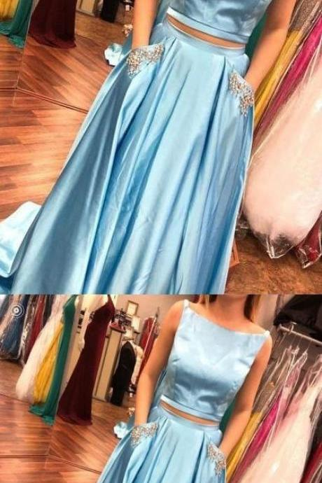 Two Piece Prom Dresses Bateau Rhinestone Satin A-line Long Prom Dress P2164