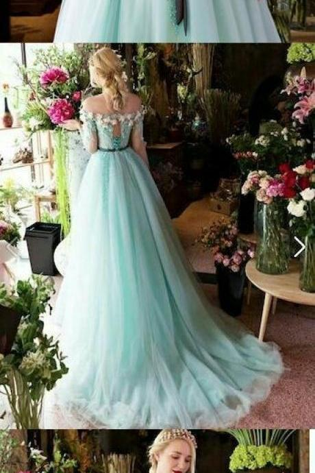 Long Prom Dresses A-line Off-the-shoulder Brush Train Beading Long Sleeve Prom Dress P2266