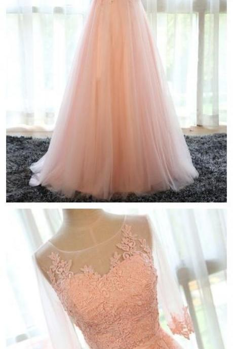Beautiful Prom Dresses Pearl Pink Tulle Long Prom Dress/Evening Dress P2274