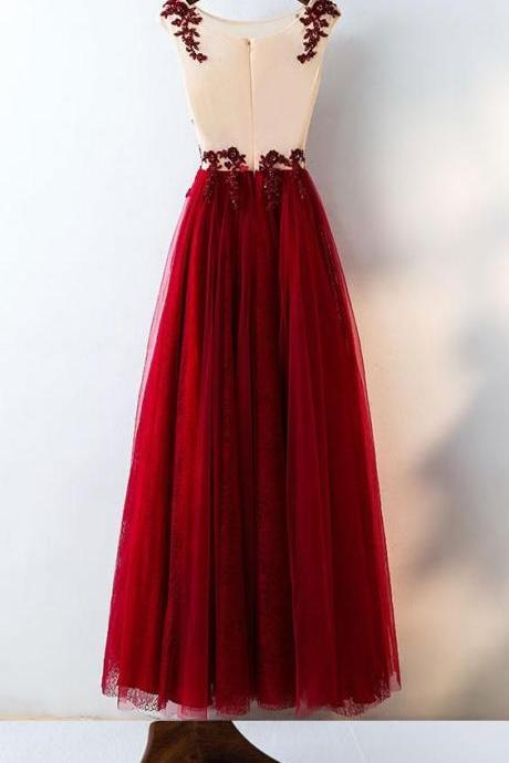 Chic Burgundy Prom Dresses Rhinestone Scoop Floor-length Lace Prom Dress/Evening Dress P2344