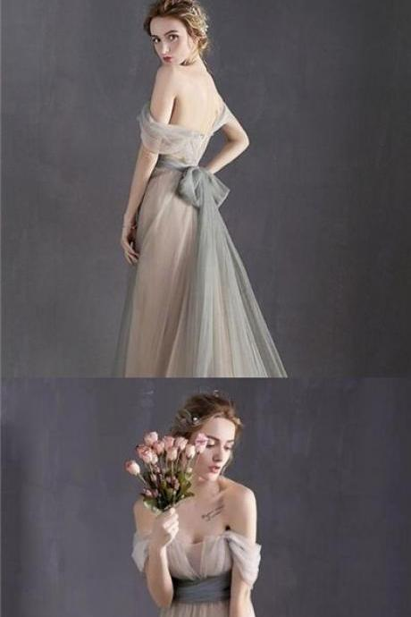 Fairy Prom Dresses A-line Floor-length Bowknot Sexy Prom Dress/Evening Dress P2359