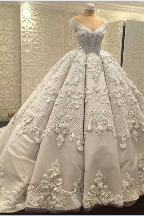 Gorgeous Wedding Ball Gown Prom Dresses,Elegant Prom Gowns ,Applique Evening Dresses,Fashion Prom Dress P2118