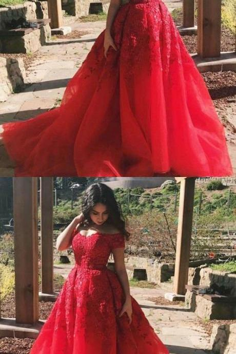 A-Line Off the Shoulder Court Train Red Tulle Prom Dress with Lace, glamorous red off the shoulder evening gowns, elegant tulle long prom dresses with lace P2429