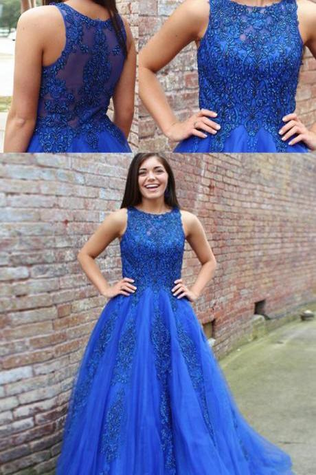 A-Line Round Neck Sweep Train Royal Blue Prom Dress with Lace Beading, modest royal blue long prom dresses with lace, unique round neck evening dresses with appliques P2464
