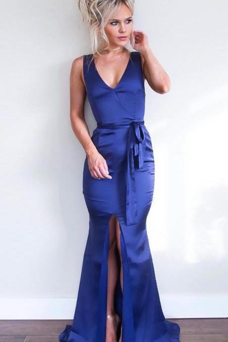 Mermaid V-Neck Split Front Royal Blue Stretch Satin Prom Dress with Sash, modest royal blue v neck long prom dresses, simple backless evening dresses with sash split P2483