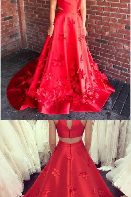 A-Line Jewel Open Back Sweep Train Red Prom Dress with Appliques, modest two piece red open back long prom dresses, unique jewel evening dresses with appliques P2501