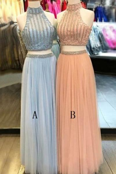 Two Piece A-Line High Neck Floor-Length Light Blue Tulle Prom Dress with Beading, modest two piece light blue long prom dresses with beading, unique 2 piece high neck peach evening dresses P2519