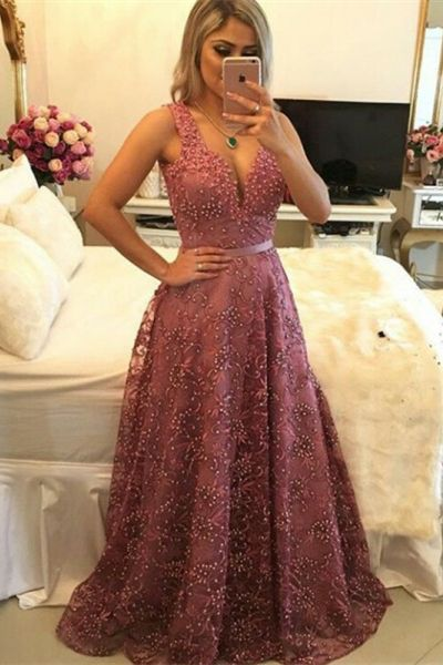 elegant pink v neck long prom dresses, modest a line evening dresses with pearls, chic lace party dresses for spring P2750