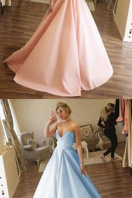 elegant ball gown pink prom dresses, modest blue sweetheart evening gowns, unique satin party dresses P2769