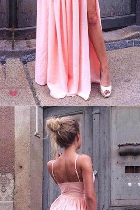 simple pink v neck long prom dresses, sexy a line spaghetti straps party dresses, fashion teens gowns with high slit P2796