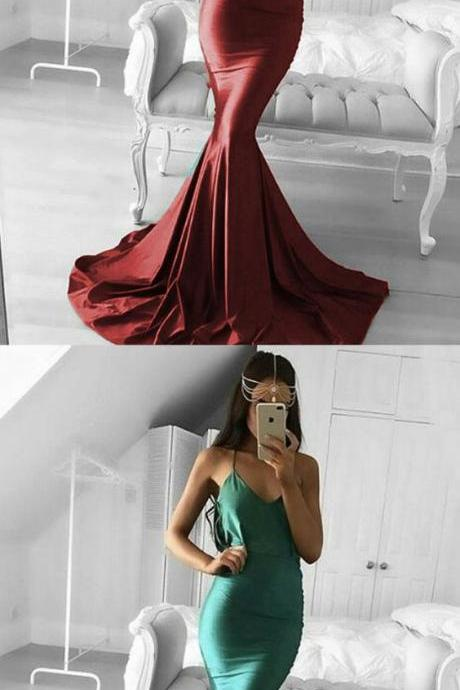 burgundy straps long prom dresses, elegant green mermaid party dresses, fashion evening dresses P2813