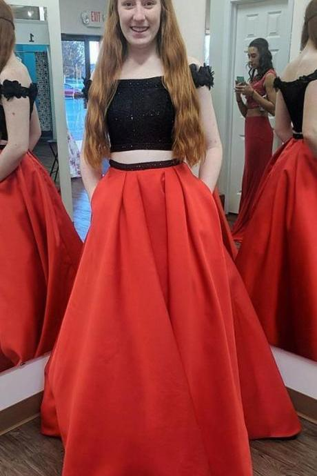 two piece black and red long prom dress, 2018 prom dress, off the shoulder black and red long prom dress with pockets P2853
