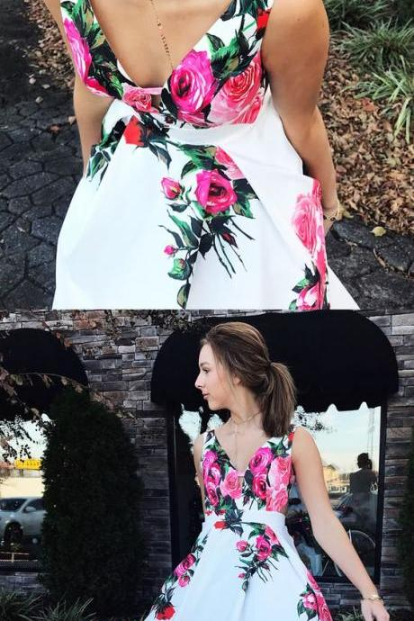 floral long prom dress, princess strapless long prom dress with train, party dress P2869