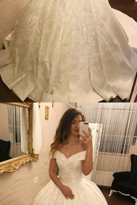 Ball Gown Off-The-Shoulder White Long Prom/Wedding Dress P2879