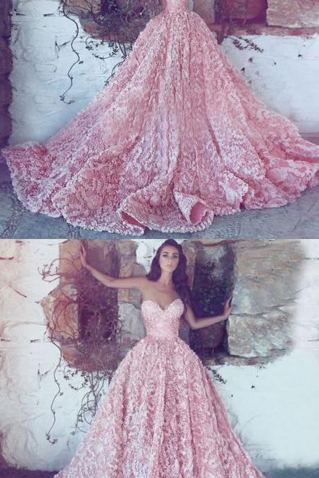 A-Line Sweetheart Sweep Train Pink Lace Prom Dress, gorgeous pink lace long prom dresses, amazing sweetheart long evening dresses P2944