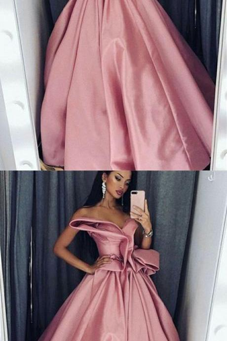 A-Line Sweetheart Floor-Length Pink Satin Prom Dress with Ruffles, modest blush pink sweetheart evening dresses, unique party dresses with ruffles P2969