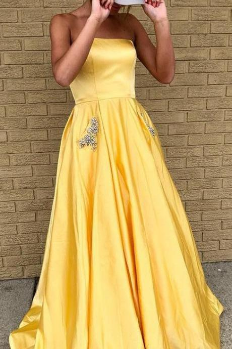 strapless yellow long homecoming dress prom dress 2k18, elegant long prom dress with pockets P3022