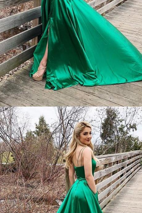 green long pom dress homecoming dress, simple straps green long prom dress with side slit, party dress P3045