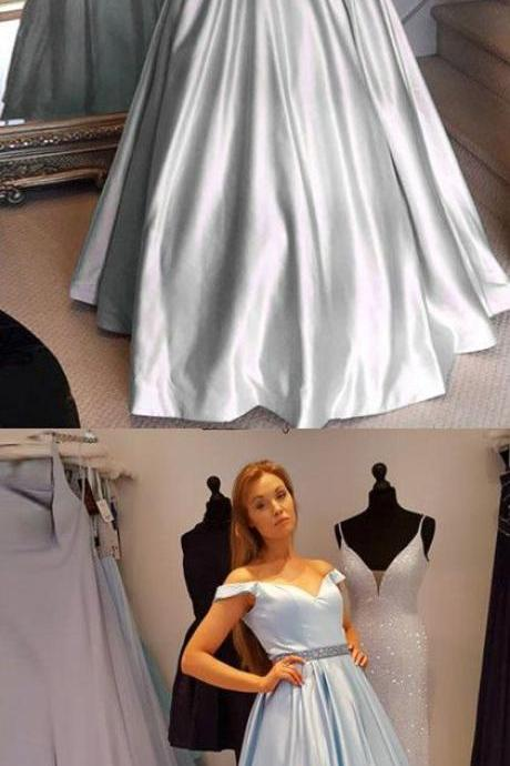 off the shoulder light sky blue long prom dress, elegant prom dress with pockets, party dress P3123