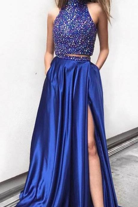 classic two piece royal blue long prom dress with side slit, 2018 prom dress, high neck two piece royal blue prom dress with pockets P3136