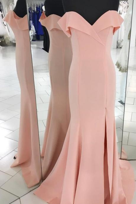 pink prom dress, off the shoulder long prom dress, 2018 prom dress, simple prom dress, party dress, mermaid long prom dress P3220