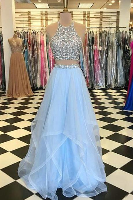 Light Blue Prom Dresses with Pearls Beaded Rhinestones Tulle Ruffles Two Piece Prom Dress New Arrival P3262