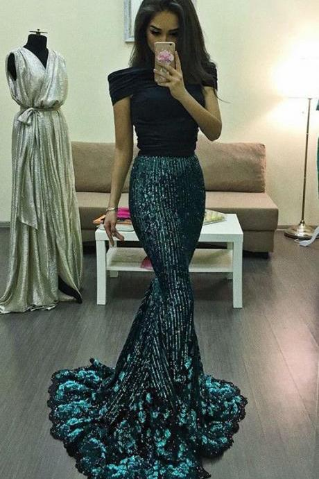 elegant off shoulder prom party dresses with sequines, fashion sparkle dark green evening gowns for formal occassion