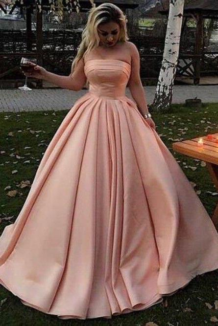 A-Line Strapless Sweep Train Long Pink Satin Prom Dress with Pleats
