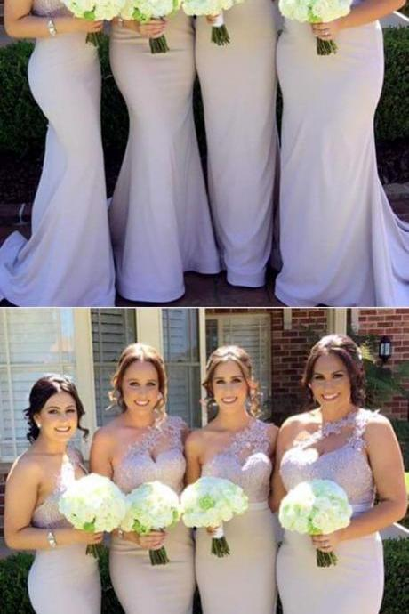 Long Nude One Shoulder Bridesmaid Dresses Mermaid Appliques Formal Gowns For Bridal Party