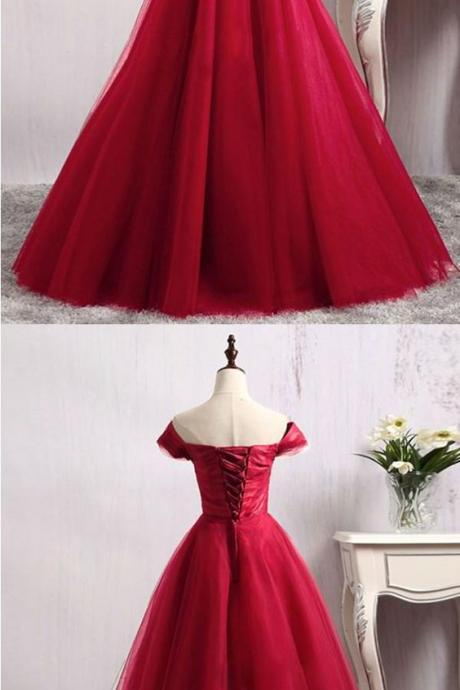 Off-the-Shoulder Red Sleeveless Tulle Prom Dress, Ball Gown Prom Dress with Corset